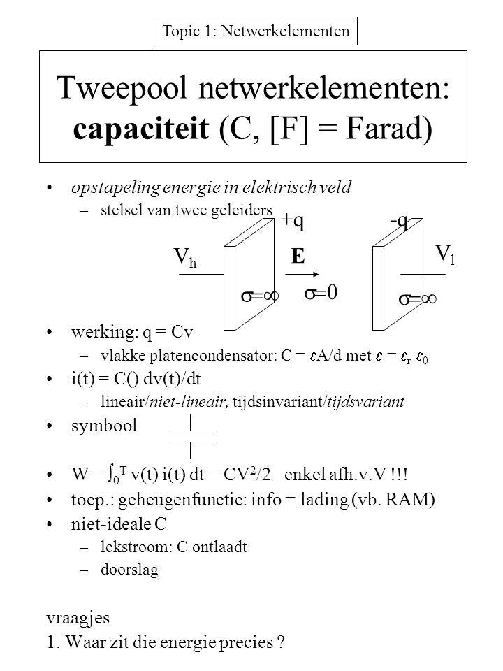 Tweepool netwerkelementen: capaciteit (C, [F] = Farad)